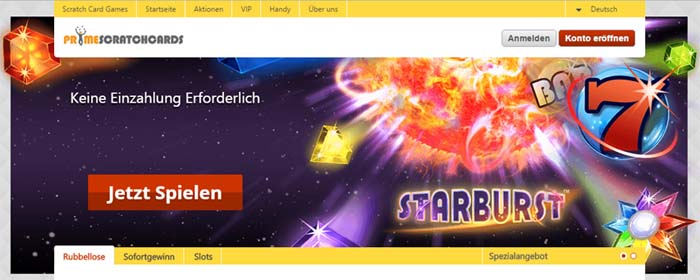 Rubbelkarten online spielen bei Prime Scratch Cards